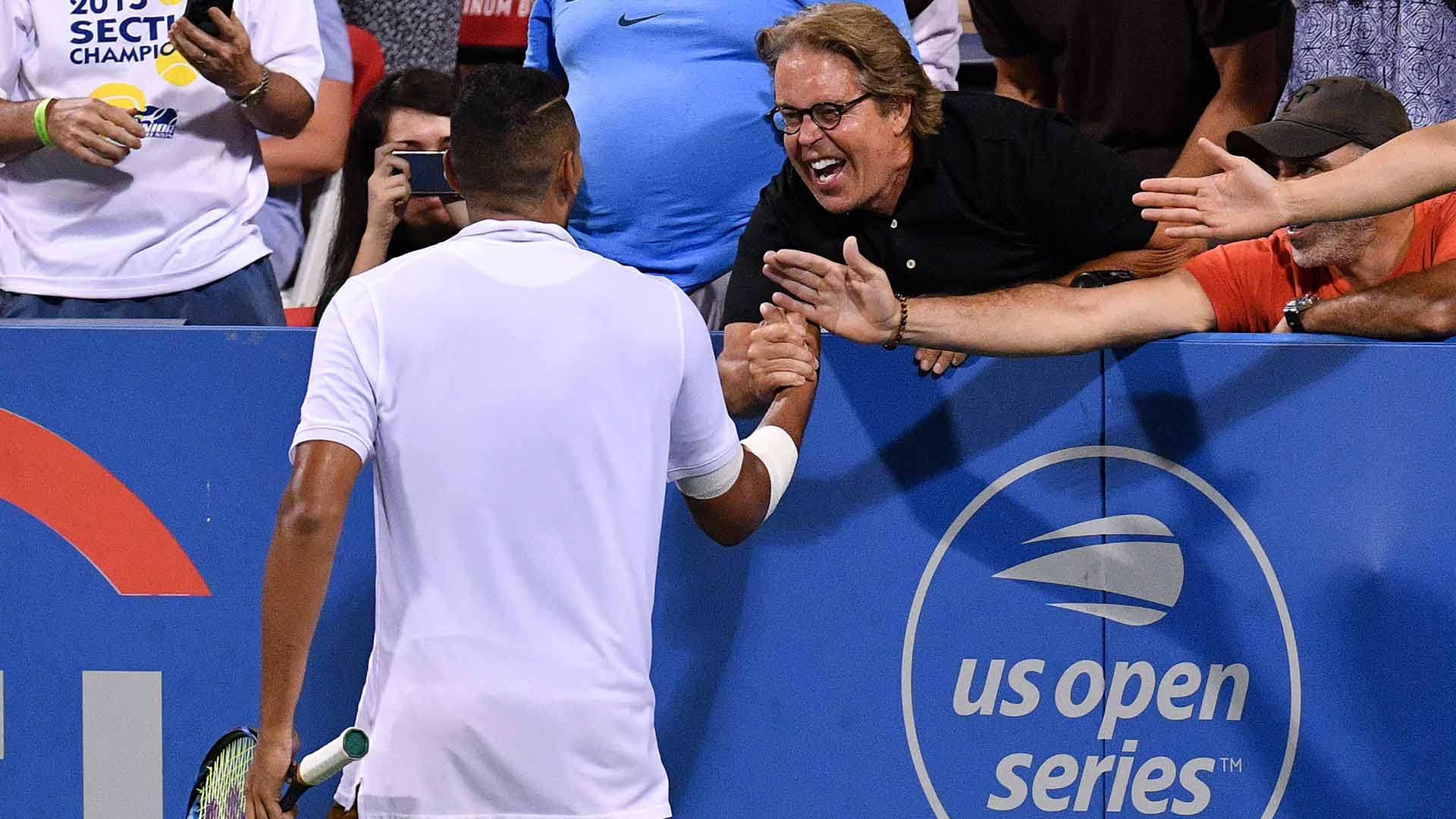 Nick Kyrgios celebrates reaching the Citi Open final in Washington, D.C., with his new friend/advisor