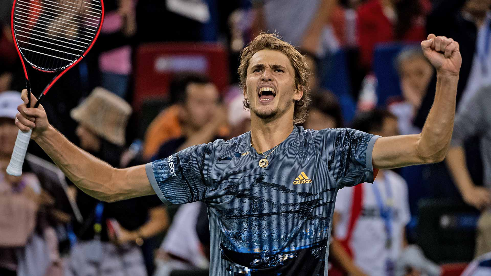 Alexander Zverev celebrates his three-set win against Roger Federer on Friday at the Rolex Shanghai Masters.