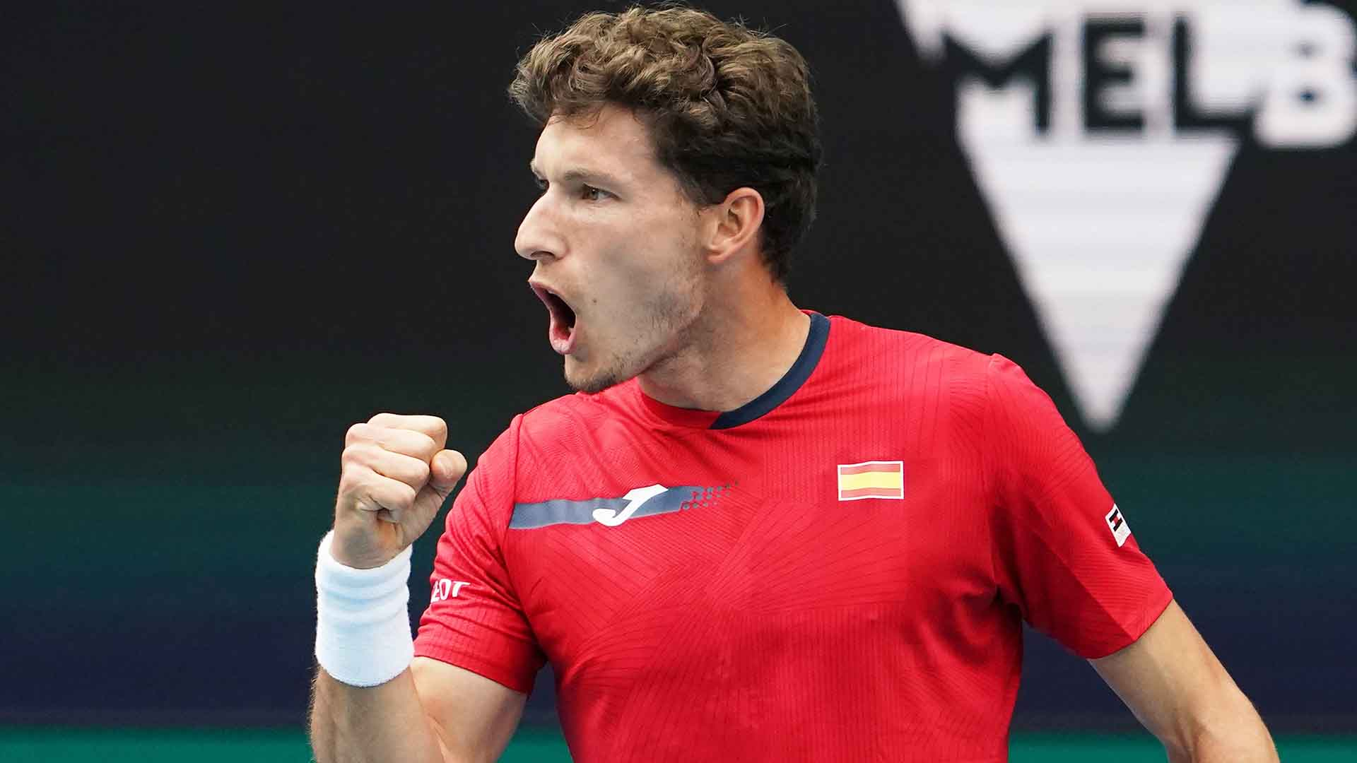 Pablo Carreno Busta converts four of seven break points to defeat John Millman in straights sets at the ATP Cup on Tuesday.