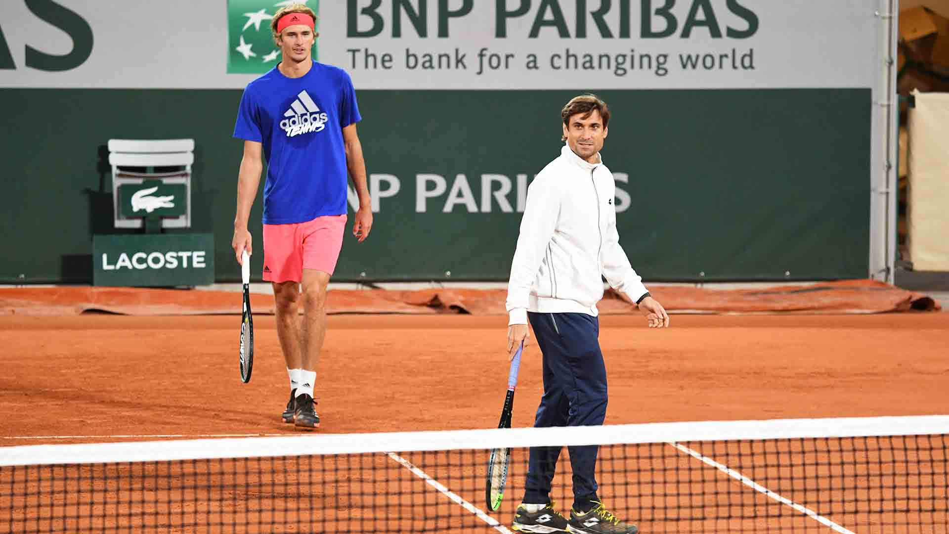 Alexander Zverev practises with new coach David Ferrer ahead of his fifth consecutive main draw appearance at Roland Garros.