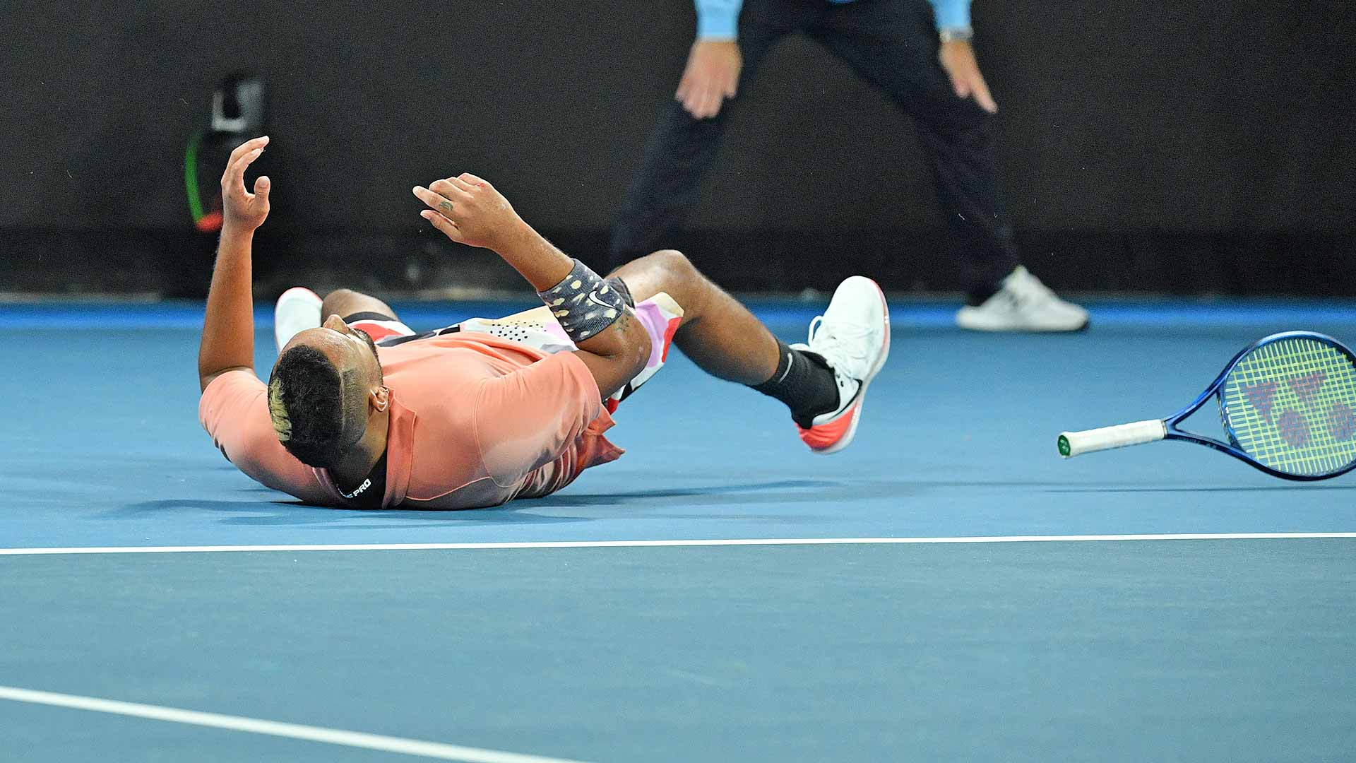 Nick Kyrgios celebrates his five-set win over Karen Khachanov.