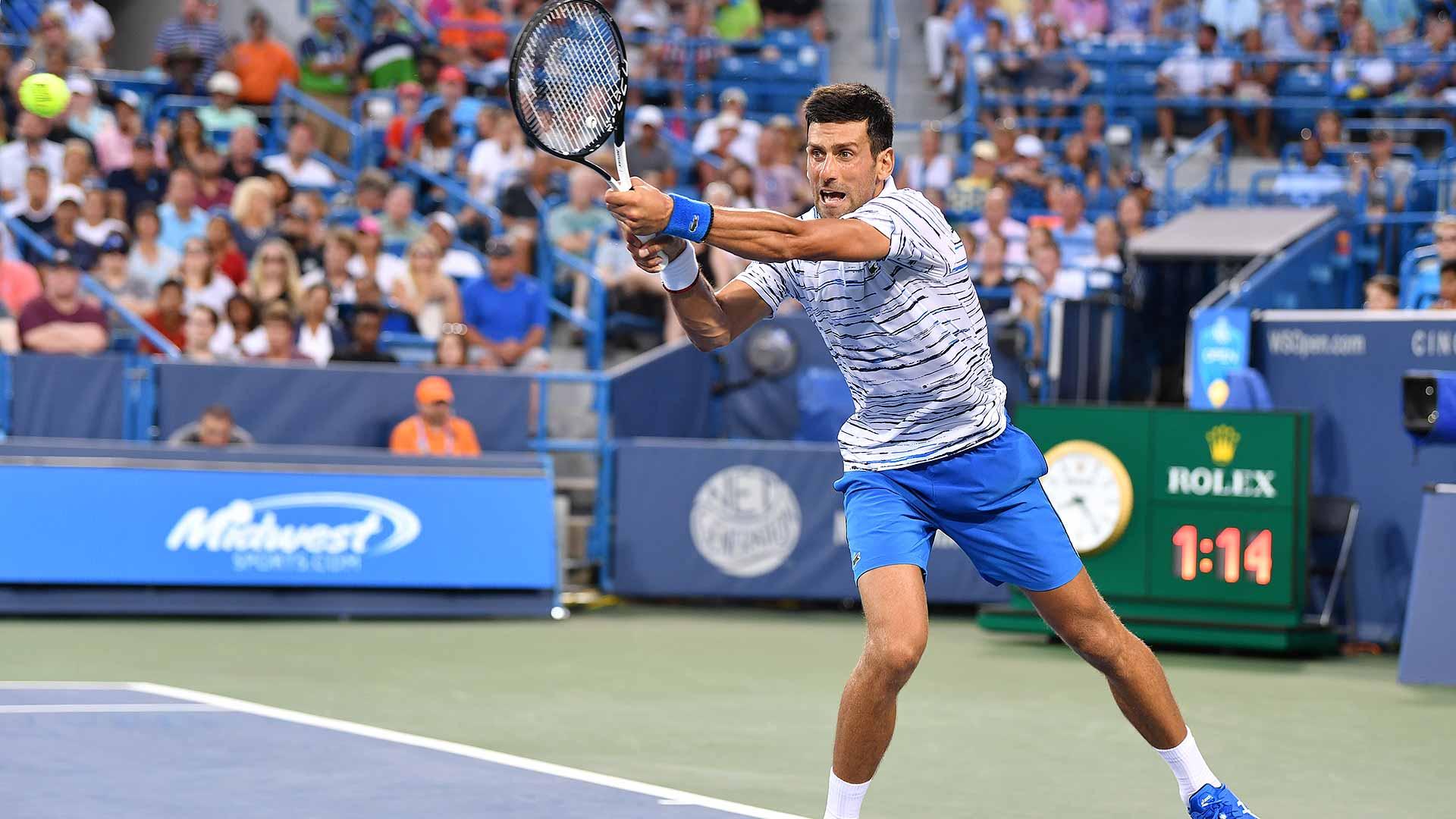 Novak Djokovic saves all four break points faced on Thursday against Pablo Carreno Busta in Cincinnati.