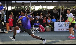 Teens Michael Mmoh (L) and Stefan Kozlov teamed up in Sarasota doubles.