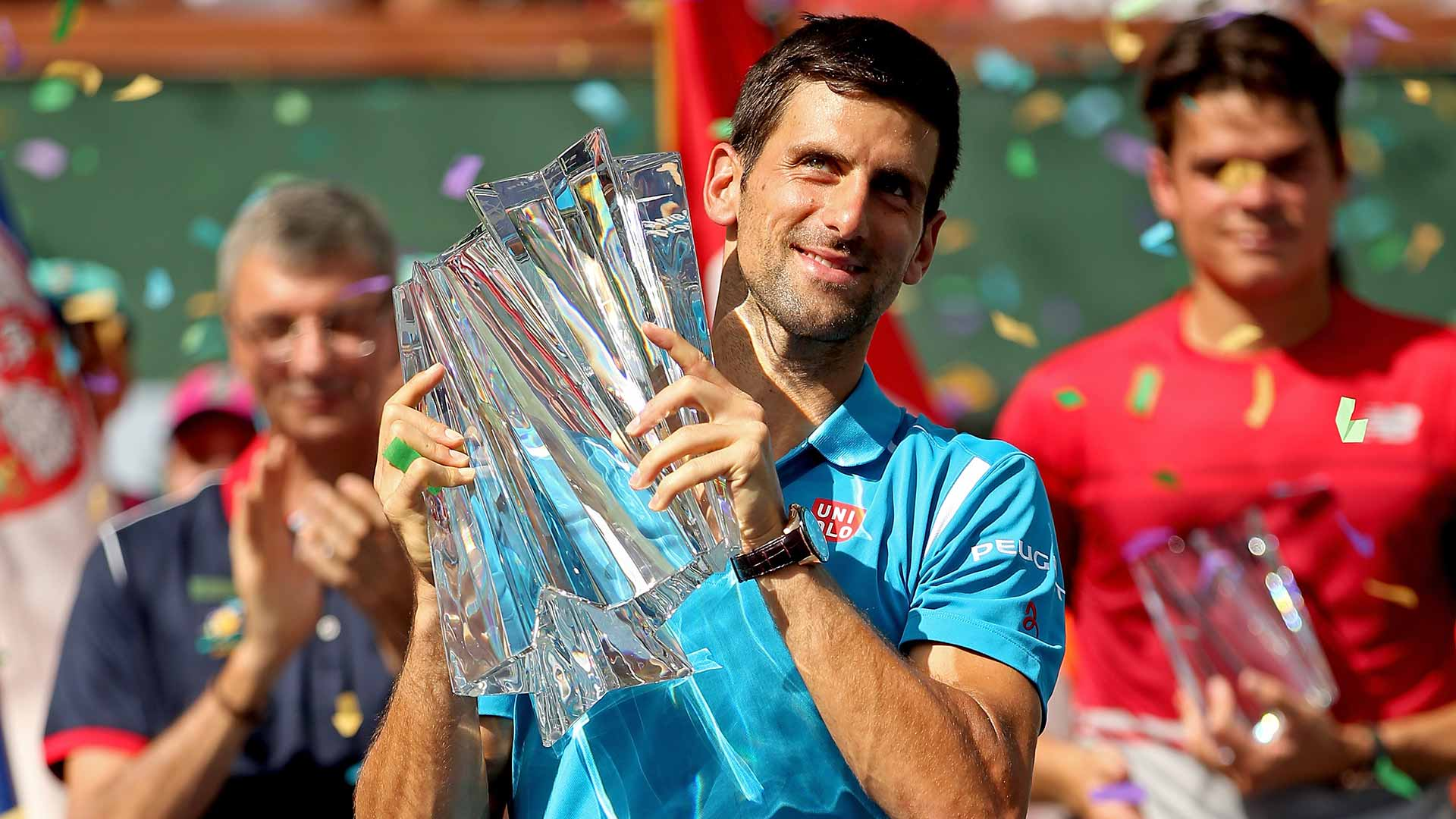 Novak Djokovic wins a record fifth Indian Wells title.