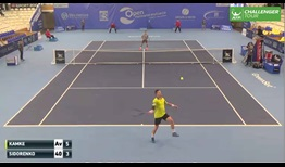 Tecnifibre player Alexandre Sidorenko gave the home crowd plenty to cheer about with this blind, over-the-shoulder passing shot in the quarter-finals of the St. Brieuc Challenger