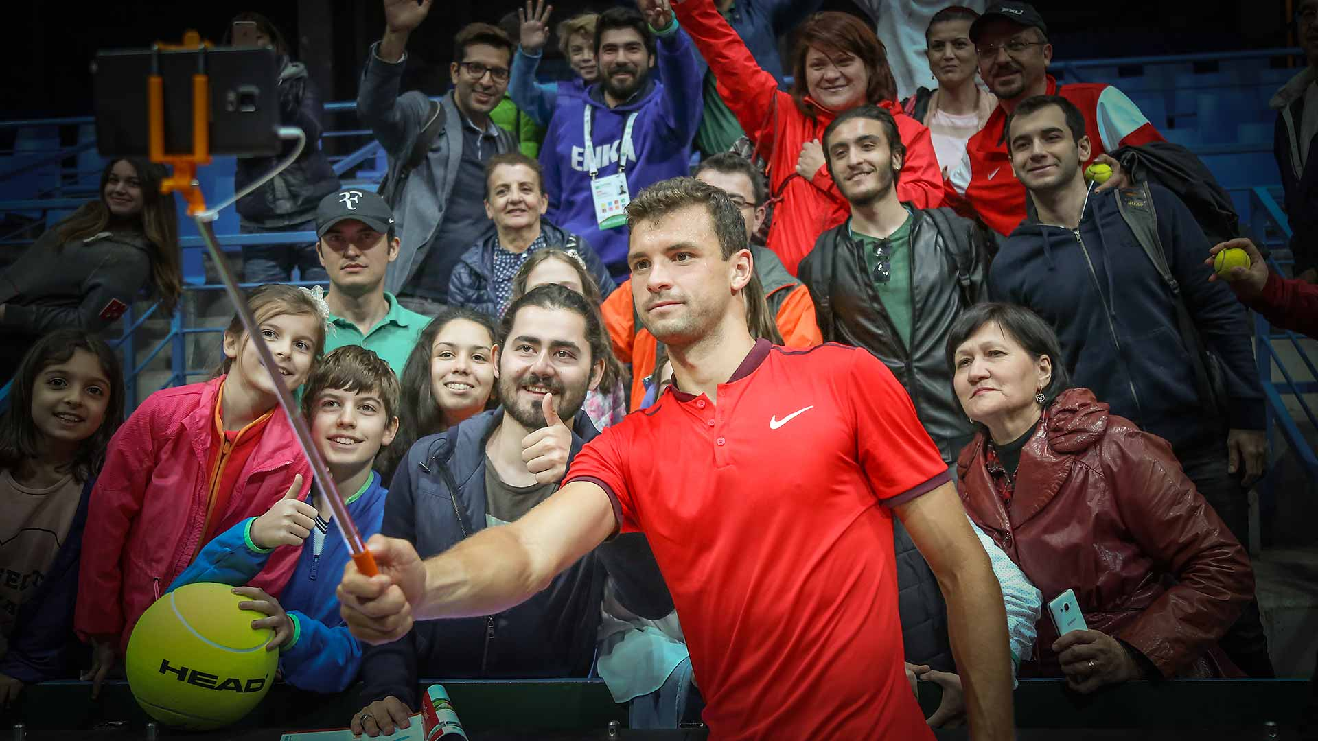Grigor Dimitrov takes a selfie with fans after a successful outing in Istanbul.