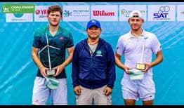 James Duckworth (R) won his first ATP Challenger Tour title of the year in Bangkok.