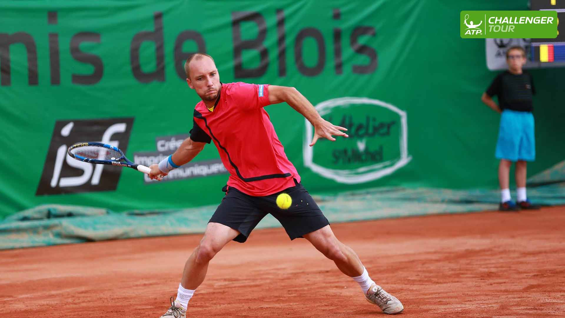 Steve Darcis competes at the ATP Challenger Tour event in Blois.