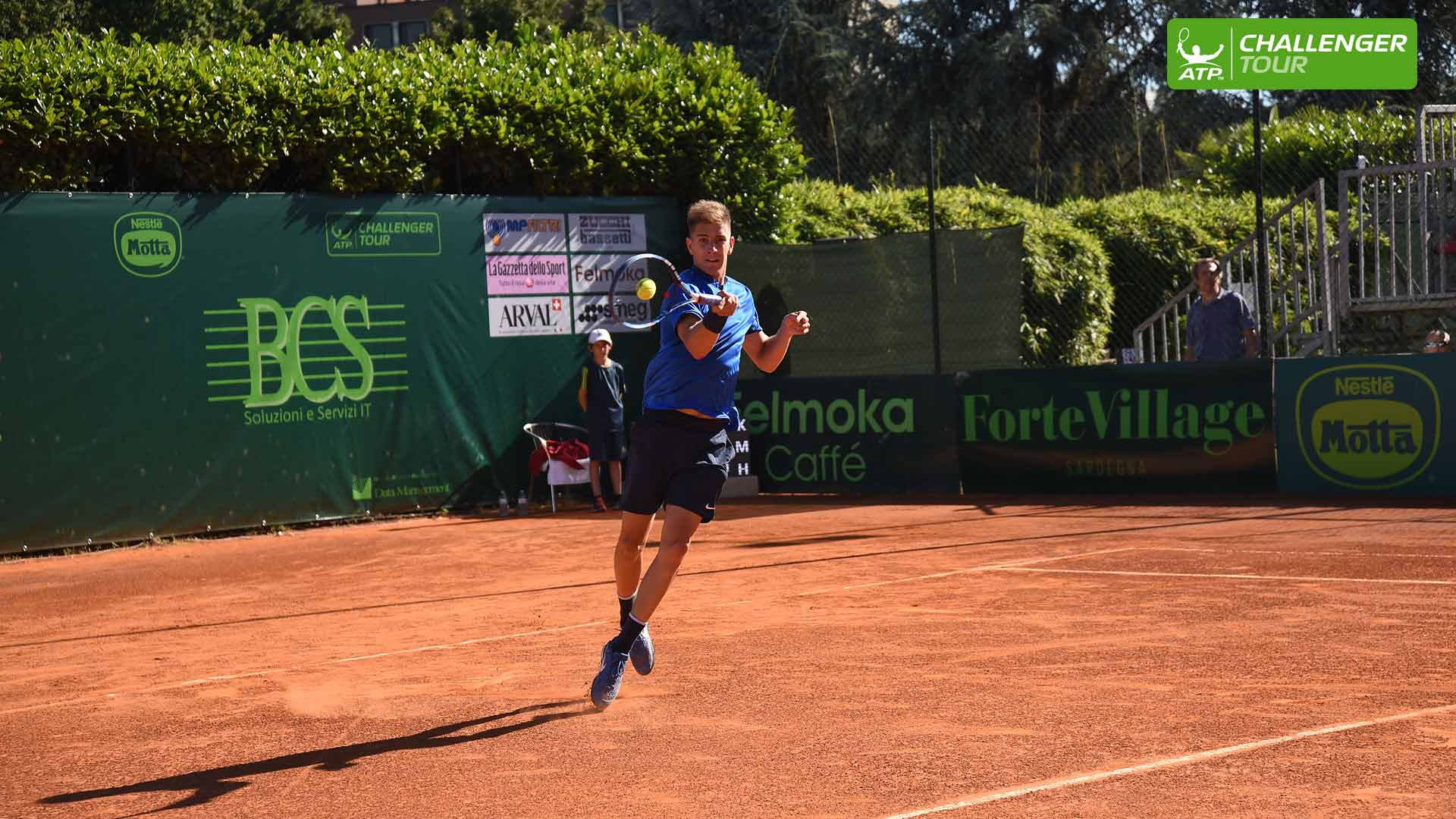 Matteo Donati plays a shot at the ATP Challenger Tour event in Milan.