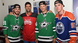 Novak Djokovic meets NHL stars Tyler Seguin, Jason Spezza and Connor McDavid.
