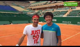 Rising ATP Challenger Tour star Zhizhen Zhang reflects on hitting with Roger Federer.