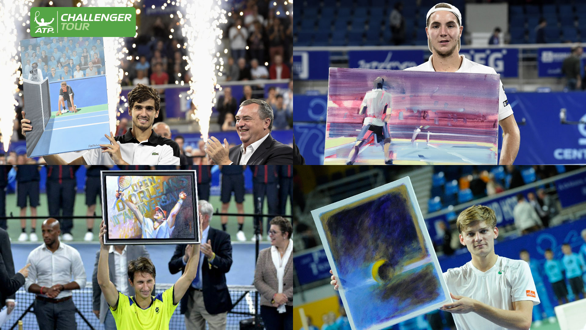 The champions of the ATP Challenger Tour event in Orleans proudly show off their winner's painting.