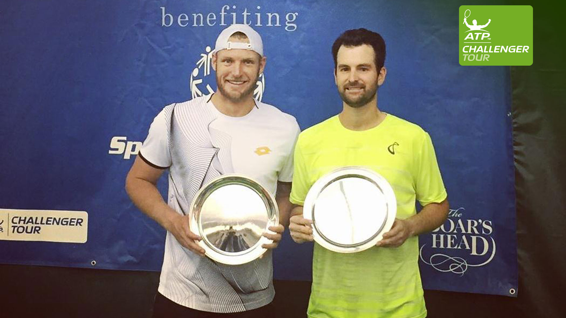 Brian Baker (R) teams with Sam Groth to win his fifth Challenger doubles title of 2016 in Charlottesville.