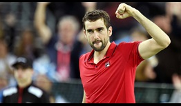 Marin Cilic celebrates winning the opening rubber for Croatia in the Davis Cup final against Argentina on Friday.