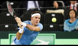 Argentina's Juan Martin del Potro came within a point of a two sets to love lead against Ivo Karlovic of Croatia on Friday in the Davis Cup final.