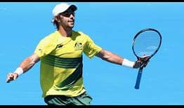 Australia's Jordan Thompson completes a dream Davis Cup debut on Friday against the Czech Republic in Melbourne.