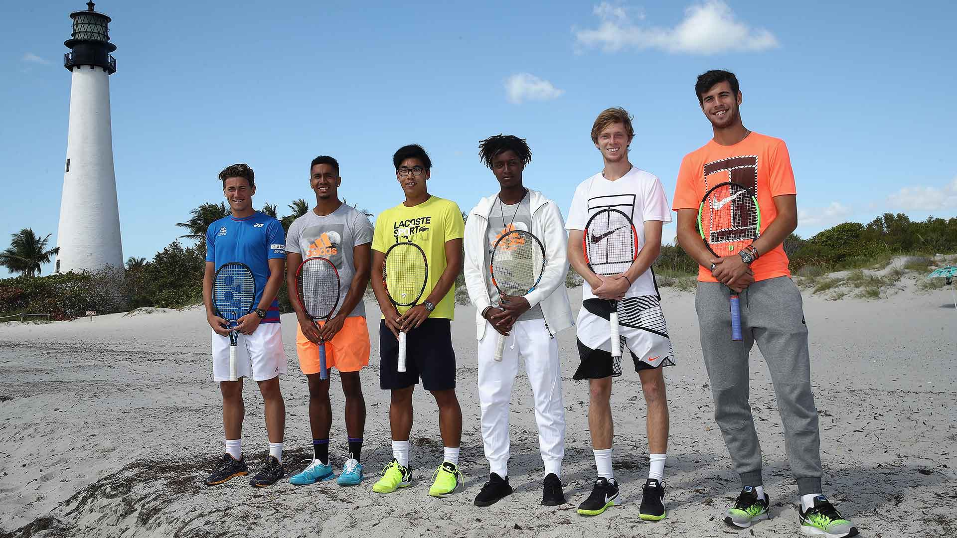 #NextGenATP players Casper Ruud, Michael Mmoh, Hyeon Chung, Mikael Ymer, Andrey Rublev and Karen Khachanov pose in front of the Lighthouse at Cape Florida ahead of the Miami Open presented by Itau.