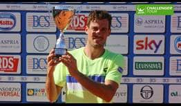 Guido Pella lifts his 11th ATP Challenger Tour trophy in Milan.