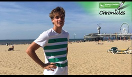 #NextGenATP star Stefanos Tsitsipas spends an afternoon on the beach during his day off at the Scheveningen Challenger.