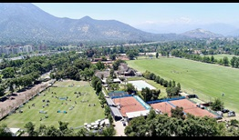 The tennis centre at the Santiago Challenger is nestled between the equestrian field (left) and the polo ground (right) at the Club de Polo y Equitacion San Cristobal.