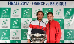 Lucas Pouille and David Goffin will get the Davis Cup final between France and Belgium underway in Lille on Friday.