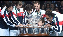 France celebrates its 10th Davis Cup title after defeating Belgium, 3-2.