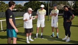 "The inaugural ""Fore Love Tournament"" raised more than $1 million. From left to right: Andy Murray, Jack Nicklaus, Bob Bryan, Mike Bryan and Serena Williams."