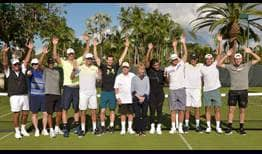 "A number of ATP World Tour players, including Andy Murray, centre, to the left of Jack Nicklaus, participated in the ""Fore Love"" tournament."