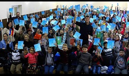 Horia Tecau uses his book,'Viata in ritm de Tenis', which in English is 'Life in the Rhythm of Tennis' to teach kids about honesty, teamwork, adherence to rules and more.