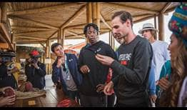 Gael Monfils, Roberto Quiroz, Dorian Descloix and Nicolas Jarry learn how cacao is turned into chocolate ahead of the Ecuador Open in Quito.