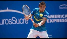 Brazil's Thiago Monteiro wins his first FedEx ATP Head2Head meeting against Argentina's Horacio Zeballos on Tuesday in Quito.