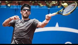 Gerald Melzer upsets three-time defending champion Victor Estrella Burgos in the second round of the Ecuador Open.