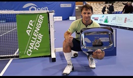 Ricardas Berankis celebrates his victory at the ATP Challenger Tour event in Saint-Brieuc, France.