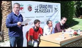 Robin Haase (second from left) assists at the Marrakech draw ceremony. The Dutchman begins his campaign against Sofia champion Mirza Basic.