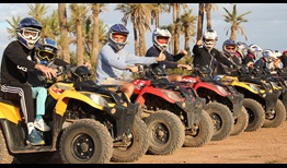 Gilles Simon with son Timothee, Pablo Andujar, Robin Haase, Matwe Middelkoop and Kyle Edmund take part in a quad bike ride in Marrakech.