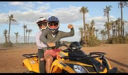Radu Albot, who opens his Grand Prix Hassan II campaign Wednesday against Andreas Seppi, enjoys quad biking with his wife Sunday.