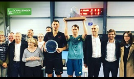 John Millman raises his second ATP Challenger Tour trophy of the year, prevailing in Aix-en-Provence, France.