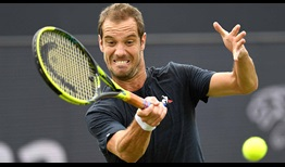 Richard Gasquet loses just one of his first-service points against Evgeny Donskoy on his return to 's-Hertogenbosch on Thursday.