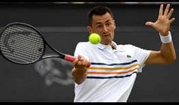 Qualifier Bernard Tomic advances to his first ATP World Tour semi-final in two years on Friday in 's-Hertogenbosch.