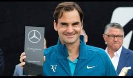 Roger Federer lifts his first title in Stuttgart on Sunday. The Swiss entered the week with a 2-2 record at the event.