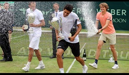 Alexander Zverev, far right, who, with brother Mischa Zverev, lost in the Halle doubles final on Sunday, has some fun with champions Marcelo Melo, second from the right, and Lukasz Kubot.