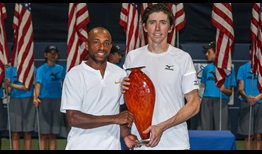 Nicholas Monroe, left, and John-Patrick Smith win 75 per cent of their first-serve points and win the BB&T Atlanta Open doubles title on Sunday.