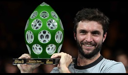 Gilles Simon celebrates his third Metz title on Sunday.