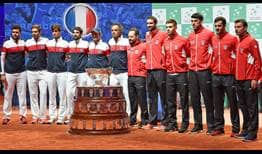 France will try to retain its Davis Cup title this weekend against Croatia.