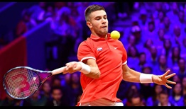Borna Coric defeats Jeremy Chardy in straight sets to earn Croatia the first point of the Davis Cup final on Friday.