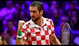 Marin Cilic defeats Jo-Wilfried Tsonga in straight sets to earn Croatia a 2-0 lead over France in the Davis Cup final on Friday.