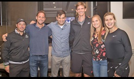 Sebastien Grosjean, Tennys Sandgren, Michael Kosta, Kevin Anderson, Shelby Rogers and Eugenie Bouchard help raise money at Kevin Anderson's Grand Slam Cause for the Paws.