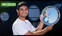 Marcos Giron lifts his first ATP Challenger Tour trophy after prevailing in Orlando.