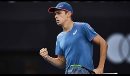 Alex de Minaur beats Dusan Lajovic in straight sets at the Sydney International on Monday.