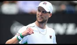 Andreas Seppi celebrates his big win against top seed Stefanos Tsitsipas on Thursday.